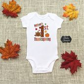 Personalize The Name – My First Thanksgiving – Turkey Football, Boy or Girl – Baby One Piece Bodysuit, or Toddler / Children's T-shirt – Thanksgiving