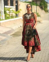 Red african print dress,Highlow gown,Red ankara dress,African highlow dress,African print gown,African clothing for women,Ankara dress