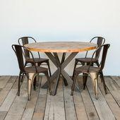 Desk bois salle à manger ronde, Desk Loft en bois récupéré et socle en acier les jambes dans votre choix de couleur, taille et finition