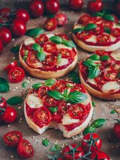 Pizza toast with tomatoes and mozzarella