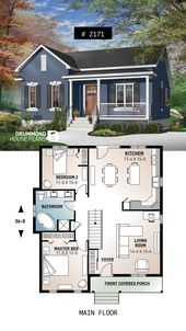 One-story economical home with open floor plan, kitchen with island #small #affordable #homedesign #houseplan #homeplan