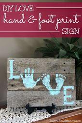 DIY Love Hand und Fußabdruck #print Zeichen