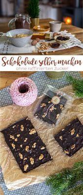 Rezept für selbst gemachte Schokolade ohne raffinierten Zucker – Leelah Loves