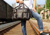 Genuine Leather Mens Cool Weekender Bag Travel Bag Duffle Bags Briefcase Messenger Bag for men