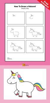 Wie man ein Einhorn für Kinder Schritt für Schritt zeichnet