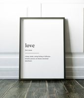 Love Print, Quote Print, Valentines, Definition Print, Valentines Gift, Wall Art Prints, Minimalist Print. Modern Art, Love Art, Wall Art