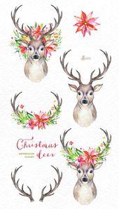Cerf de Noël. Cerf aquarelle, bois, fleurs, clipart peint à la foremost, renne, fleurs,