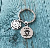 We're pregnant, Having a baby, Going to be a dad, Pregnancy, Announcement, Baby Announcement, Gift idea, Husband, Boyfriend, Silver Keychain