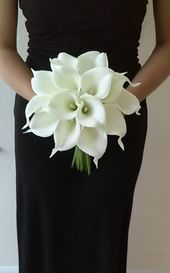 Blanco Calla Lilie brida ramo con Calla Lilie Boutonniere-Real Touch Calla Lilie Bouquet-Brautjungfer Bouquet-Silk Flower Wedding Bouquet