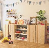 Photo of The wooden shelf in the children's room