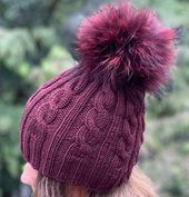 Cable Knit Ribbed Burgundy Beanie Fur Pompom Hat – 100% Wool Hat – Handmade Knitted  Hat – Raccoon P – Products