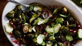 Roasted Brussels Sprouts with Chestnuts, Pomegranate, and Cider Reduction   – Recipes