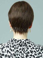 Wie Echthaar! Einzigartiger Stil Damen Kurz Glatt Braun Volle Perücken wig#Stil#Damen#Einzigartiger