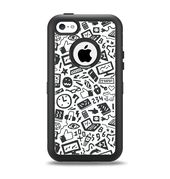 The Black & White Technology Icon Apple iPhone 5c Otterbox Defender Case Skin Set