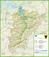 Canton of Aargau map with cities and towns Swiss Cantons