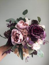 Herbst Hochzeitsstrauß, lila Brautstrauß, Seide Hochzeitsstrauß, Herbst Brautstrauß, künstliche Blumenstrauß, Dusty Rose Bouquet   – Wild Flower Bouquets ♡
