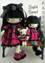 "Leila 17″ , Pippa 11 half "" and their Teddy Bear- Amigurumi Doll Crochet Sample PDF"