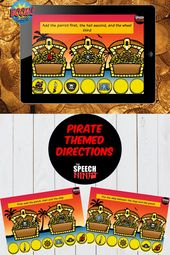 Pirate Themed Temporal and Sequential Directions Boom Cards