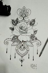 Tattoo Ideen Mandala Floral Flower Rose Tattoo Zeichnung Blumenze … #Tattoos #Tattoosquotes #diytattooimages – diy tattoo ideas