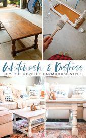 How to Whitewash & Distress Furniture: DIY Farmhouse Coffee Table