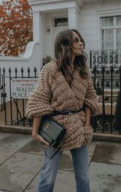 London style fall winter outfit knitwear sweater jumper coat bag jeans paired yv...