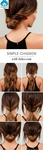 Simple Chignon Hair Tutorial (Diy Wedding Hairstyles) – # Bob Hairstyles # Bridal Hairstyles #Chignon #Cool Hairstyles #Women's Short Hairstyles