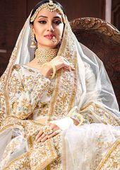 Buy White Pure silk Indian wedding lehenga in UK, USA and Canada