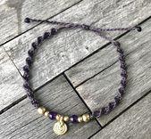 Amethyst brass beads spiral slide clasp 15cm – 26cm long