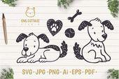 Süße kleine Hunde mit Herz und Spielzeug Svg Set, Welpen schneiden Fi   – SVG Cutting Files