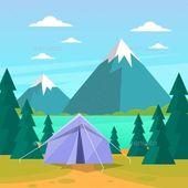Tält Camping Tourist Forest Mountain Expedition för $ 4 – Envato Market #vector # …