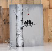 Rustic Wood Signs Love Gift Wood Sign Love Bird Painting Aspen Tree Painting 5th Anniversary Gift for Him