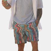 Men Colorful Stripe Design Beach Quick Drying Board Shorts