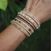 Bracelet Wrap 5 fois, blanc cristal perlé combine, bracelet bohémien, Boho bracelet, bracelet de perles