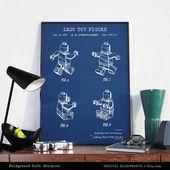 LEGO Patent zum ausdrucken, Lego Spielzeug, Lego Poster, Lego Man Print, Kinderzimmer Wandkunst, Kinderzimmer Dekor, digitaler Download, Blaupause, Tafel   – Evan's new room