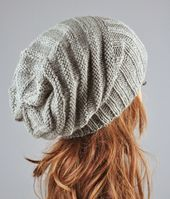Hand Knit Hat Woman Winter Hat Light Gray Chunky Beanie Slouchy Hat – Ready to Ship  – Stricken, ect.