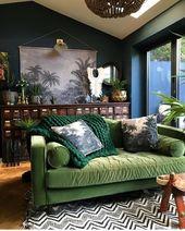 Lucious green velvet sofa