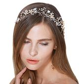 FAYBOX Bridal Vintage Crystal Pearl Hairbands Wedding Hair Accessories (Gold-tone) #weddinghair