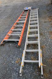 Item 163 Husky 10 Fiberglass A Frame Ladder Werner Equalizer 24 Extension Ladder With Everlevel Components Old Bed Frames Yard Machine Tool Carts