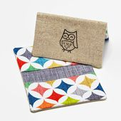 Business Card Case, Credit Card Holder, Fabric Gift Card Wallet in Bright Geometric Print