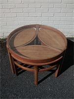 You missed it now sold Stunning Nathan glass coffee table with