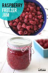 Best ever homemade raspberry freezer jam {its so easy