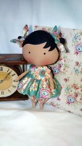 FREE SHIPPING Tilda inspired fabric doll Sakura 100/% handmade