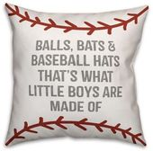 Designs Direct Baseball Boys Square Dekokissen in Rot / Weiß   – grandson