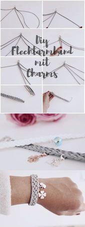 DIY jewelry braided bracelets with charms make yourself