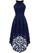Dressystar Damen Neckholder Blumenspitze Cocktail Party Kleid Hi-Lo Brautjungfernkleid – Weiß Small   – Products