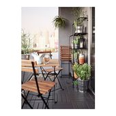 TÄRNÖ Table, outdoor – black acacia, steel gray-brown stained light brown stained