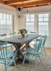 Coastal Esszimmer mit Beachy Blue Esszimmerstühlen …