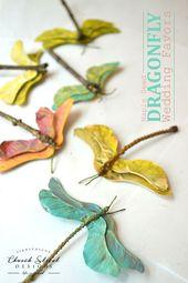 Libellen aus Ahornsamen_anmalen und mit Zweig zusammenkleben – DIY – Herbst