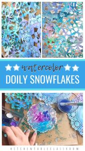 Watercolor Doily Snowflakes