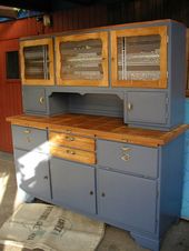 Kitchen buffet from around the 40s. I restored it and turned it to blue-gray …  – wohnzimmer